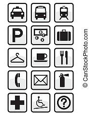 Set de señales de servicio internacional.