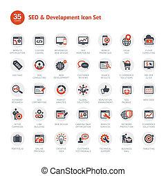 Set de SEO y iconos de desarrollo