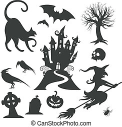 Set de varios elementos de diseño de Vector Halloween