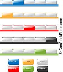Set de vector de navegación moderna tablones aqua estilo Internet 2.0. Diferentes colores, editable, menú de muestra.