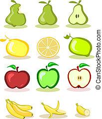 Set de vectores frutas en el trasero blanco