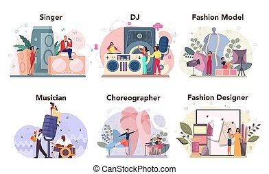 set., dj, bailarín, moda, creativo, trabajo, ocupación, diseñador