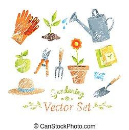 set., equipo horticultura, vector