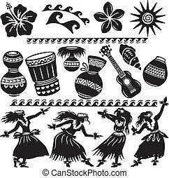 Set Hawaiano con bailarines e instrumentos musicales