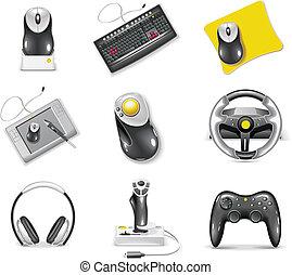 set., icono de la computadora, vector, blanco