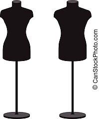 set., maniquíes, vector, female., macho, ropa