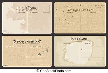 Set of Antique postales en vector