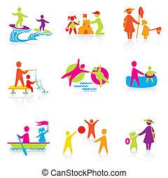 Set of iconos - tiempo de verano - familia silueta. Mujer, hombre, niño, niño, niño, niña, padre, madre. La gente vector.