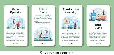 set., operador, aplicación, constructor, industrial, bandera, grúa, móvil