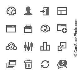 set., tablero de instrumentos, iconos