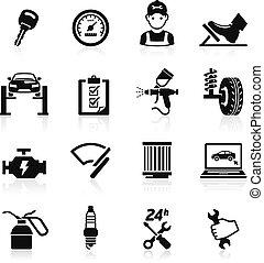set2., coche, icono, servicio