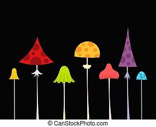 Setas silvestres coloridas