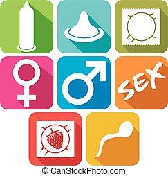 Sex flat icono set