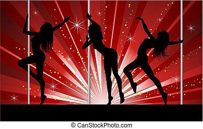 sexy, poste, bailarines