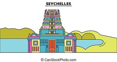 Seychelles plana de viaje fijo. Seychelles vector de la ciudad negra ilustración, símbolo, lugares de viaje, puntos de referencia.