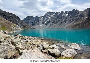 shan, kyrgyzstan, tien, lago, ala-kul, majestuoso