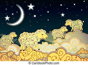 sheep, estilo, nubes, ambulante, noche, caricatura