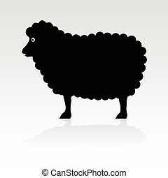 sheep, negro, vector, silueta