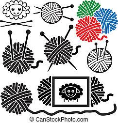 sheep, pelotas, iconos, símbolo, costura, hilo, equipo, vector, agujas