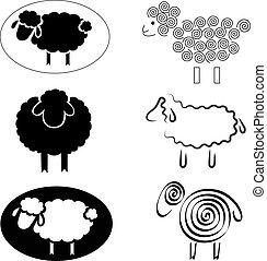 sheep, siluetas, negro