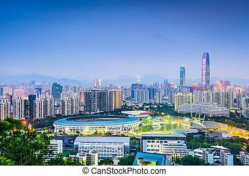 shenzhen, china, distrito financiero, skyline.