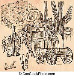 Sheriff del oeste salvaje - un vector dibujado a mano
