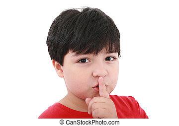 Shh. Un joven con el dedo sobre la boca