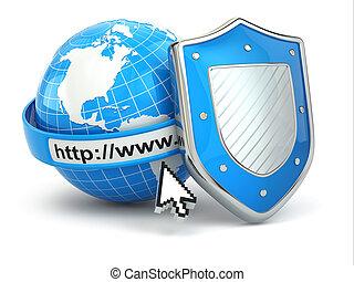shield., internet, security., dirección, línea, tierra, examinador
