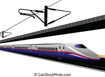 shinkansen, train., il, vector, bala