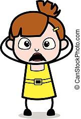 Shocked - chica linda dibujo animado ilustración vector de caracter