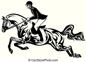 Show de caballos saltando tribal