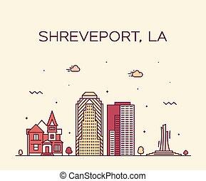 Shreveport Skyline Louisiana vector de la ciudad