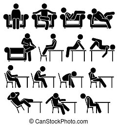 Siéntate en el sofá y la silla