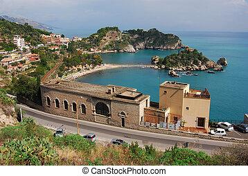 sicilia, bella, taormina, italia, isola
