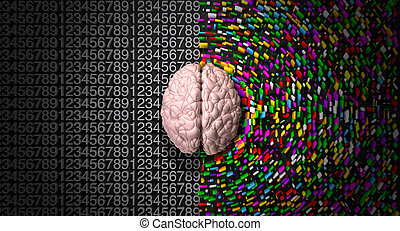 side., derecho, colorido, mente, dispersado, estructurado, lógico, creativo, analítico, cerebro, retratar, izquierda, lado, típico