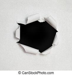 sides., agujero, papel roto