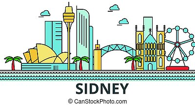 Sidney City Skyline. Edificios, calles, silueta, arquitectura, paisaje, panorama, puntos de referencia. Edición de golpes. El concepto de ilustración de vectores de línea plana. Icones aislados de fondo blanco