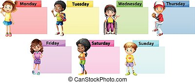 Siete días de la semana de la plantilla de notas con niños