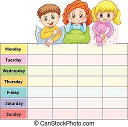Siete días de mesa semanal con niños en pijama