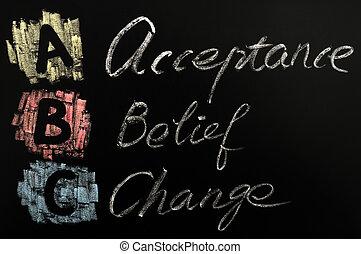 siglas, abc, aceptación, creencia, -, cambio