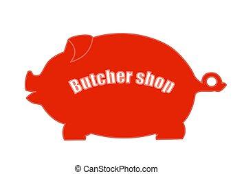 signboard, imagen, store., carne, cerdo, vector