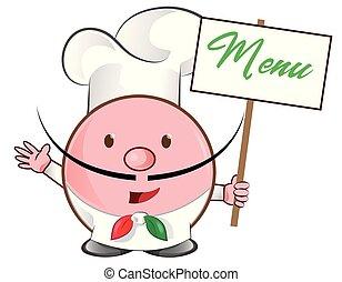 signboard, pizza, chef, menú, mascota