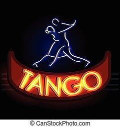 signboard, tango, luz de neón