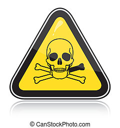 signo., atención, triangular, amarillo, poison., advertencia, tóxico