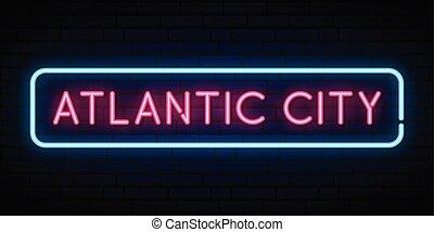 signo., atlántico, neón, ciudad