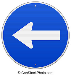 Signo azul con flecha izquierda
