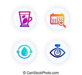 signo., calendario, laser, iconos, hojas, aceite, menta, médico, cold-pressed, set., ojo, vector