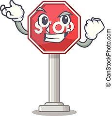 Signo de éxito parada de caricatura mascota de la calle lateral