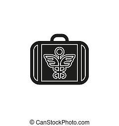 Signo de caso médico Vector, símbolo de seguro, botiquín de primeros auxilios, caja de emergencia