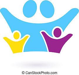 Signo de comunidad familiar o icono aislado en blanco